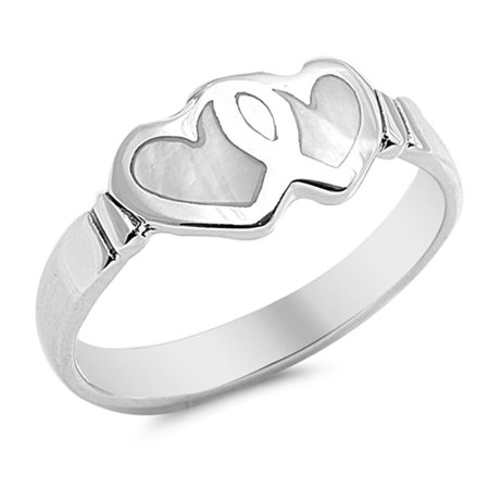 CHOOSE YOUR COLOR Heart Simulated Mother of Pearl Promise Ring New .925 Sterling Silver Band