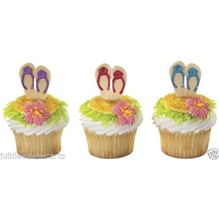 Flip Flop Cupcake - WONTTERFLY FLIP FLOP DECOPAC SUMMER CUPCAKE CAKE DECORATIONS PICKS PARTY FAVORS 12ct NEW