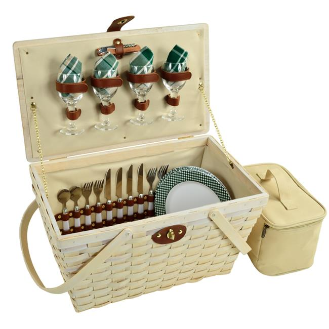 Picnic At Ascot 717W-GP Settler Picnic Basket for Four - Green Plaid