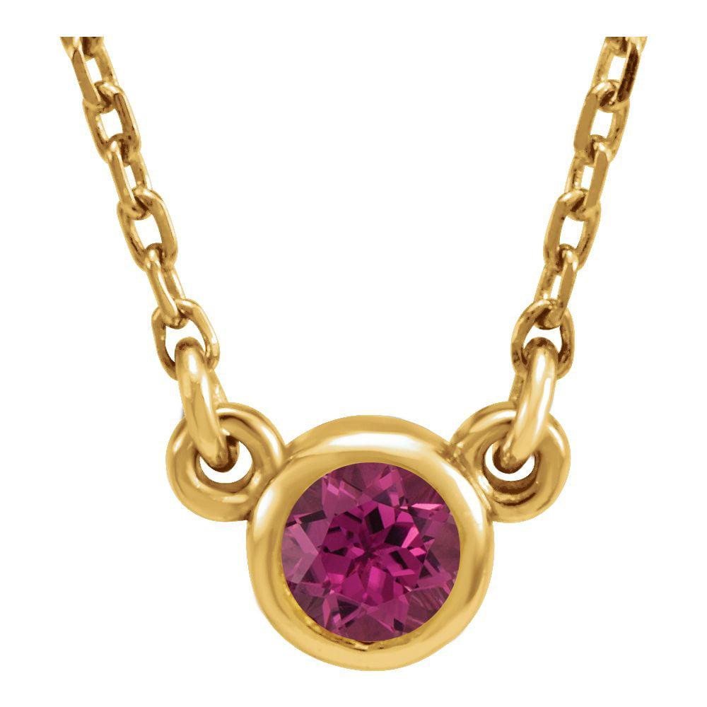 14k Yellow Gold 4mm Tourmaline Polished Pink Tourmaline Necklace by