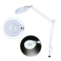 HURRISE 5X Illuminated Desktop Magnifying Lamp with Clamp Swivel Arm for Reading Medical Beauty US, Magnifying Lamp,Magnifying Lens