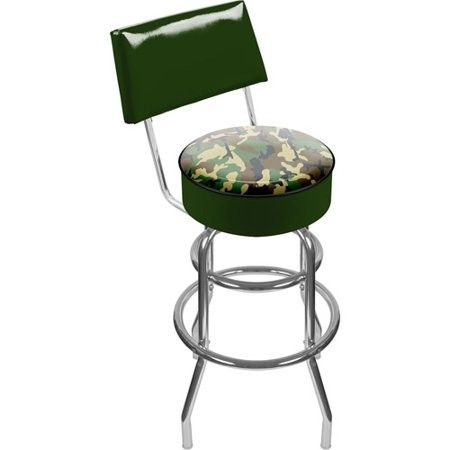 "Trademark Hunt Camo 40"" Padded Swivel Bar Stool with Back, Chrome"