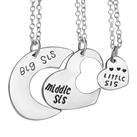 3-Pcs. Big Middle Little Sister Anti-Tarnished Best Friend Silvertone Heart Necklace Set, J-391-S