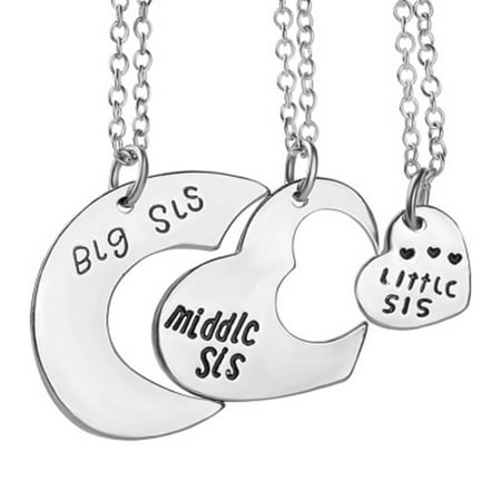 3-Pcs. Big Middle Little Sister Anti-Tarnished Best Friend Silvertone Heart Necklace Set,