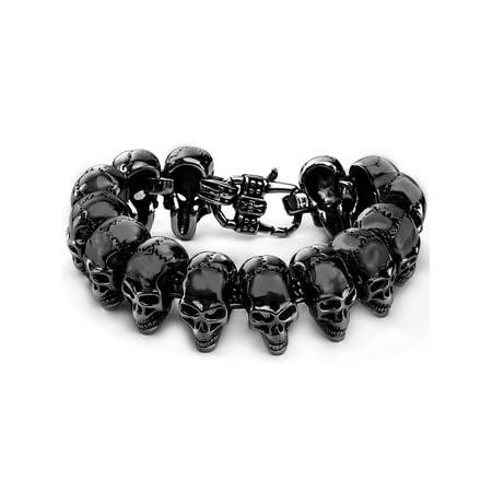 Crucible Black Plated Stainless Steel Skull Link Bracelet - - Black Link Bracelet