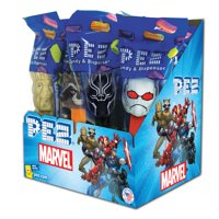 PEZ Candy Marvel Assortment , candy dispenser plus 2 rolls of assorted fruit candy, box of 12
