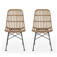 Jessie Outdoor Wicker Dining Chair (Set of 2), Light Brown and Black