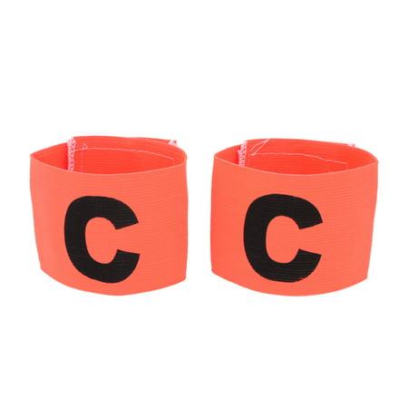 Unique Bargains Letter C Printed Stretchy Team Soccer Game Captain Armband Orange 2 PCS
