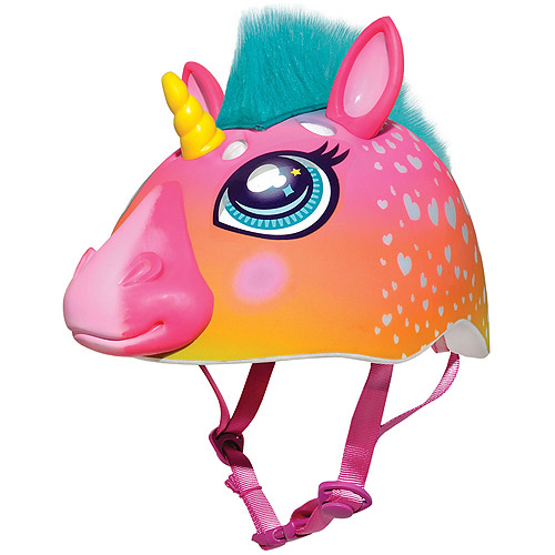 Raskullz Super Rainbow Unicorn Hair Dark Pink 3D Bike Helmet, Child