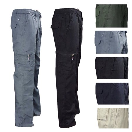 EW MENS CASUAL ELASTICATED WAIST CARGO COMBAT TROUSERS PANTS WORK RUGBY BOTTOMS