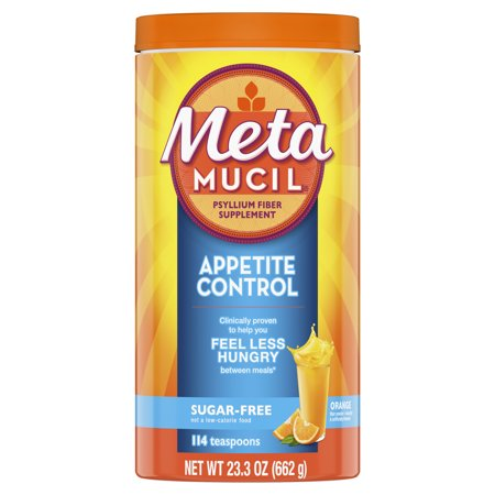 Metamucil Appetite Control Fiber, 4-in-1 Psyllium Fiber Supplement, Sugar Free Powder, Orange Zest Flavored Drink, 57 (The Best Fiber Supplement For Weight Loss)