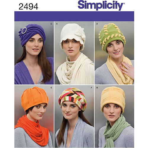 Simplicity Pattern Fleece Hat Accessories, All Sizes
