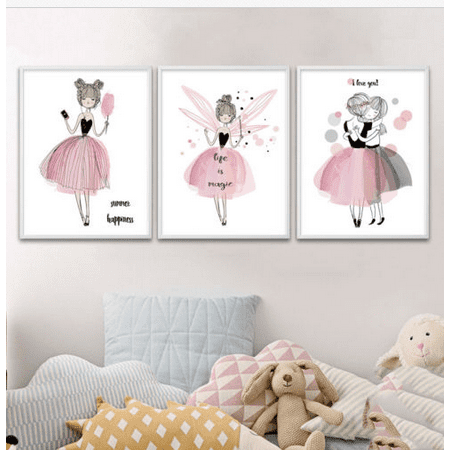 Meigar Kawaii Girl Cartoon Canvas Wall Art Painting Prints Pictures for Kids Room