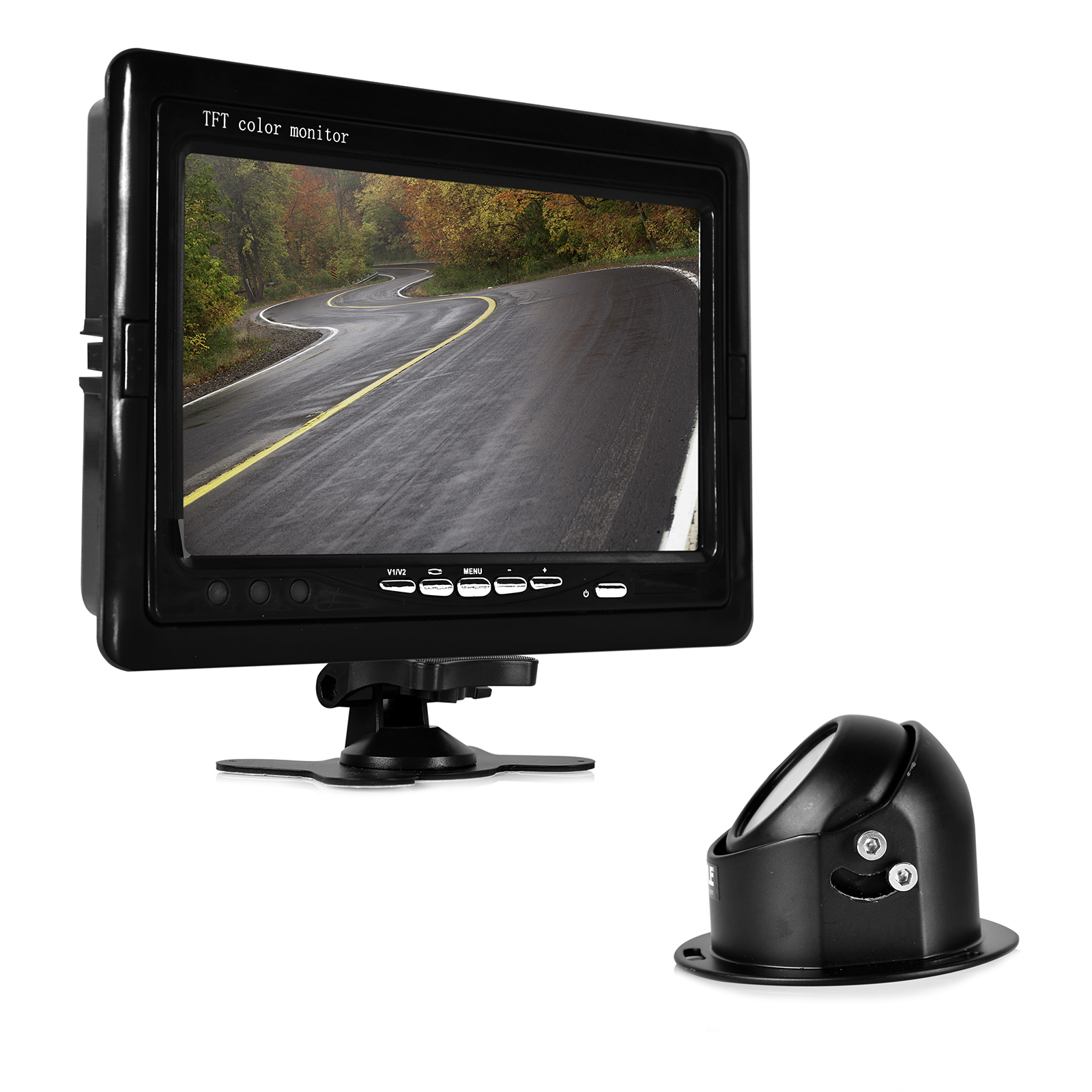 "Rearview Backup Camera & Video Monitor System Kit, Waterproof Angle Adjustable Night Vis Cam, 7"" Display, Front or Rear Vehicle Mounting"