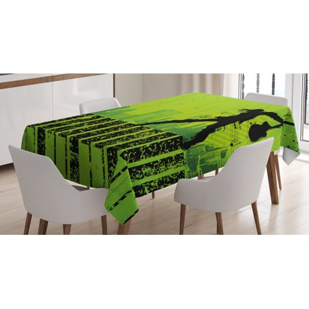 Popstar Party Tablecloth, Music in the City Theme Singer with Electric Guitar on Grunge Backdrop, Rectangular Table Cover for Dining Room Kitchen, 52 X 70 Inches, Lime Green Black, by - Party City On
