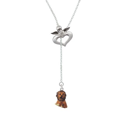 Resin Tan Lion   Guardian Angel Lariat Necklace