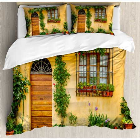 Tuscany Bedding - Italy Duvet Cover Set, Porch with Different Flowers Pots Fresh Green Plants City Life in Tuscany, Decorative Bedding Set with Pillow Shams, Apricot Green Brown, by Ambesonne