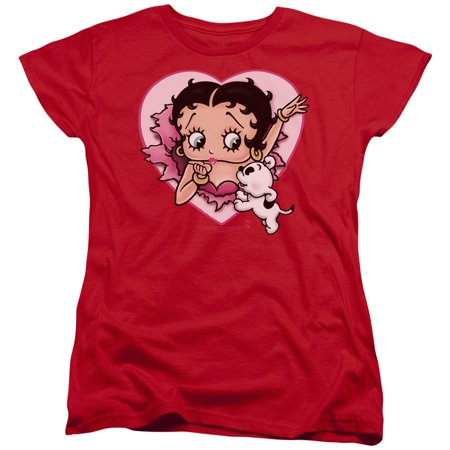 Embroidered Betty Boop Motorcycle (Betty Boop I Love Betty Womens Short Sleeve)