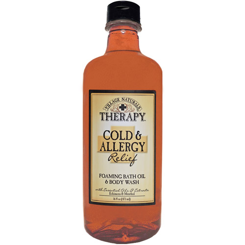 Village Naturals Therapy Cold & Allergy Relief Foaming Bath Oil & Body Wash, 16 fl oz