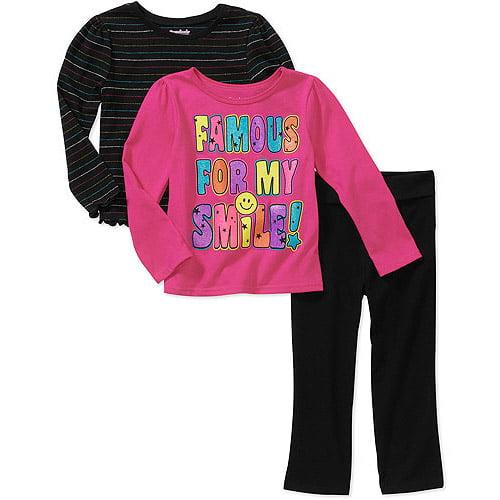 Garanimals Baby Girls 3 Piece Graphic Tees and Yoga Pant Set