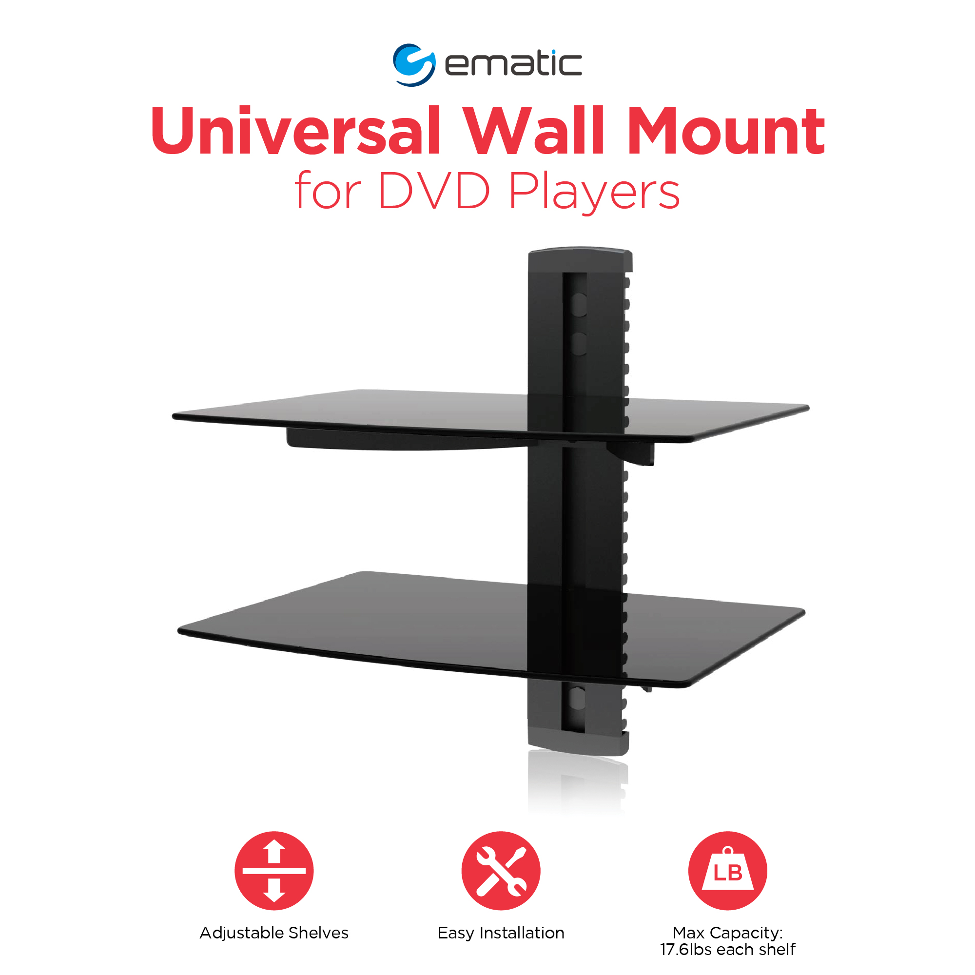 Ematic Adjule 2 Shelf For Dvd Player Cable Box With Hdmi
