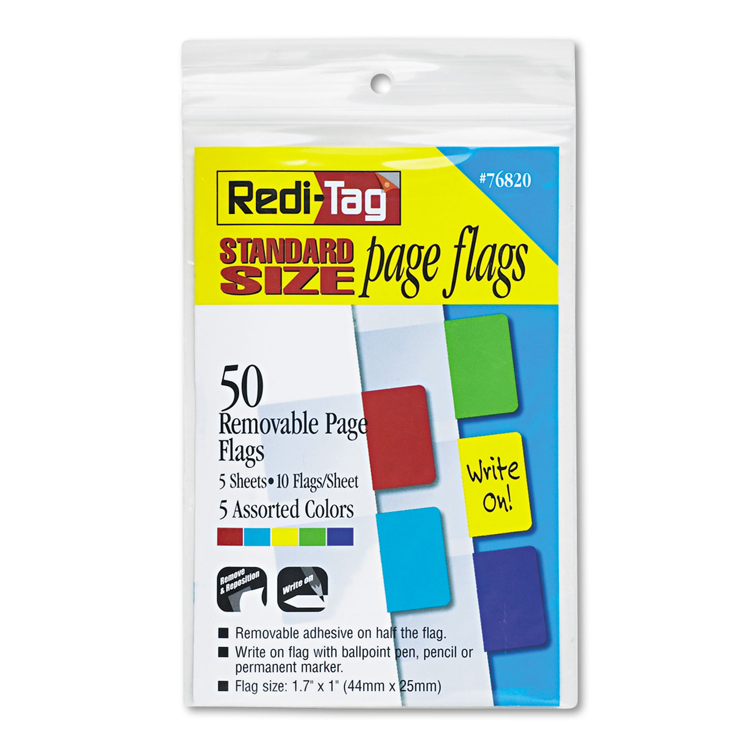 Removable Page Flags, Red/Blue/Green/Yellow/Purple, 10/Color, 50/Pack