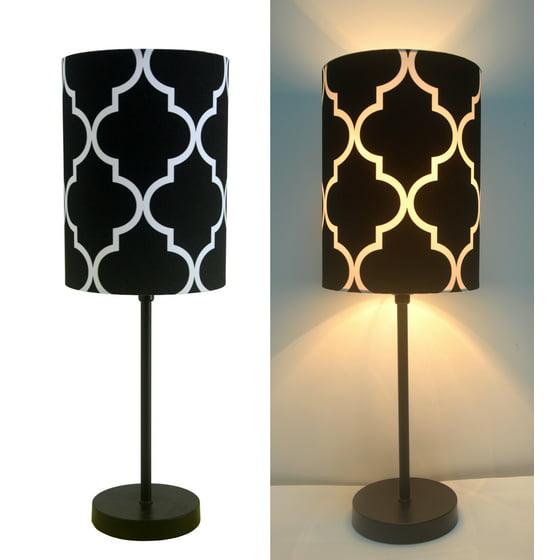 16 H Mini Living Room Indoor Table Lamp Metal Base Black