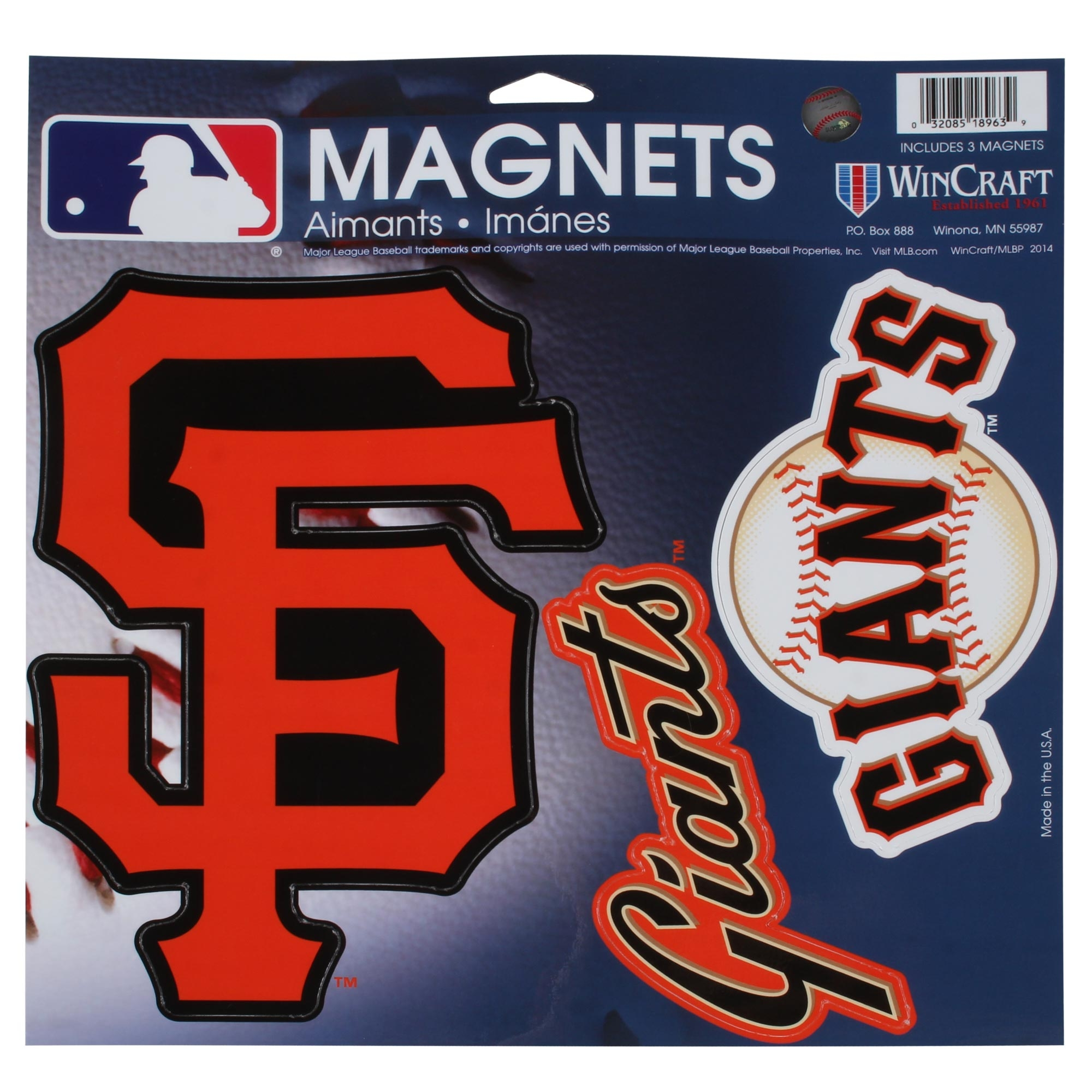 """San Francisco Giants WinCraft 11"""" X 11"""" 3-Pack Car Magnets - No Size"""