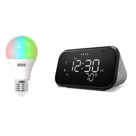 Lenovo Smart Clock Essential and Smart Color Bulb (Wi-Fi,  A19, 800 Lumen - 60 Watt Equiv.)