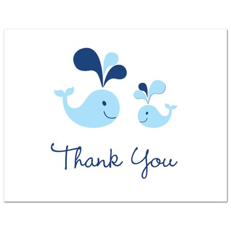 Blue Whales- Boy Baby Shower Thank You Cards and Envelopes - 50 count - Baby Shower Thank You Gifts For Guests