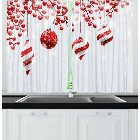 Christmas Curtains 2 Panels Set, Traditional Design Icons Holly Berry Branches with Snow and Bokeh Effect Print, Window Drapes for Living Room Bedroom, 55W X 39L Inches, Red White, by