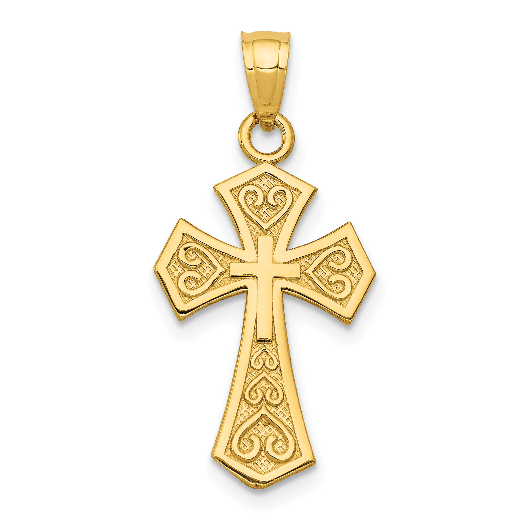 14k Yellow Gold Reversible Passion Cross Religious Pendant Charm Necklace Fine Jewelry Gifts For Women For Her - image 2 of 2