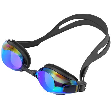 IPOW Adjustable Anti-fog UV Protection No Leaking Eye Protect Swimming Goggle Mirror Coated Lens Swim Goggles Glasses with Storage Case for Adult Triathlon Men Women Youths Kids Children, Black