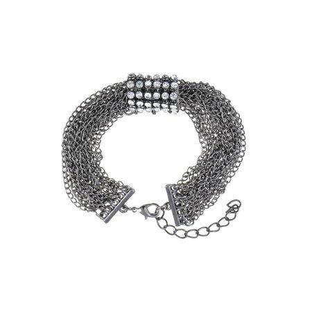 Rockstar Stunning Crystal Rhinestone Gunmetal Multi Chain Link Fashion - Rockstar Jewelry
