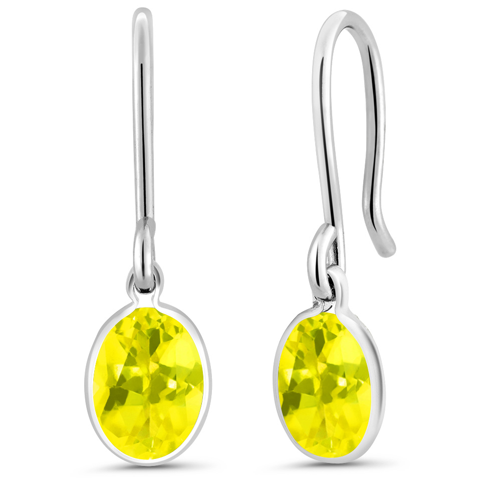 1.60 Ct Oval Canary Mystic Topaz 925 Sterling Silver Earrings