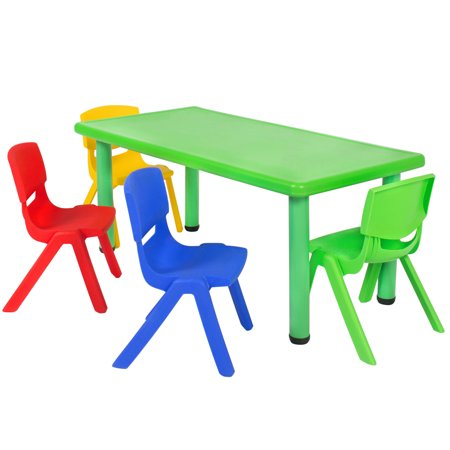 Best Choice Products Kids 5-Piece Plastic Play Room Furniture Activity Table Set w/ 4 Chairs for Home, School, Play, Fun - Multicolor