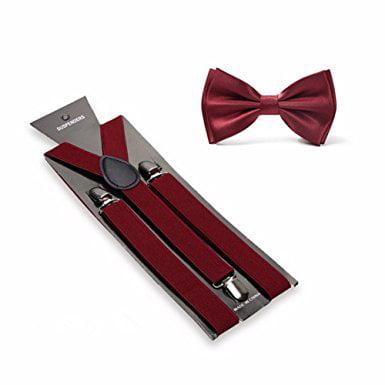 Men's Solid Color Pre-tied Adjustable Bowtie Y-Back Clip Suspenders Set for Wedding - Burgundy Suspenders