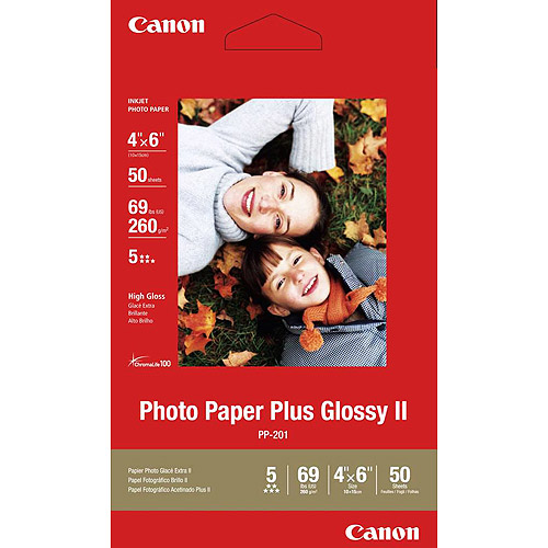 "Canon Photo Paper Plus Glossy II (4"" x 6"", 50 Sheets)"