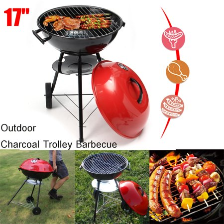 17''x28'' Portable Metal Kettle Trolley BBQ Grill Charcoal Wood Barbeque Picnic Red Freestanding Wood Grill