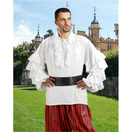 The Pirate Dressing C1084 Henry Morgan Shirt, White - Small & Medium - Morgan Halloween