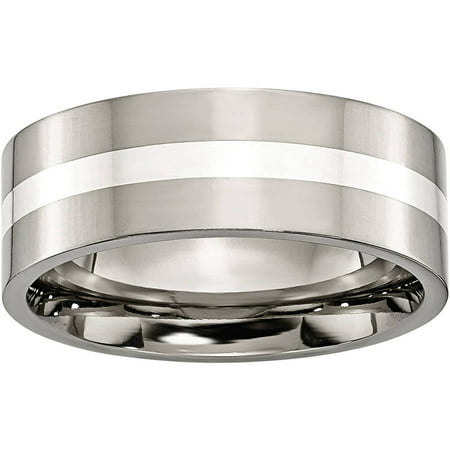 (Primal Steel Titanium Sterling Silver Inlay Flat 8mm Polished Band)