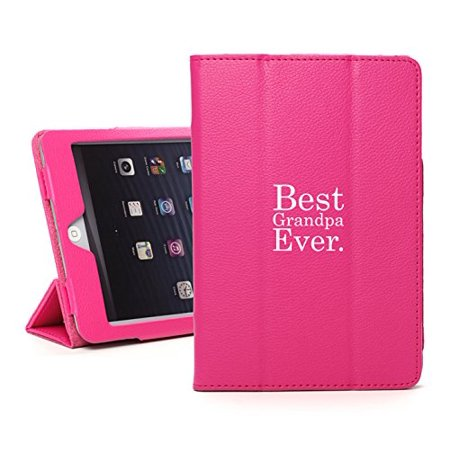 For Apple iPad Mini 4 Hot Pink Leather Magnetic Smart Case Cover Stand Best Grandpa