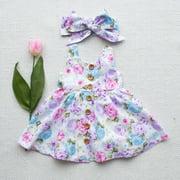 Infant Baby Girl Floral Summer Bowknot Party Princess Dress Sundress +Headband