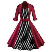 Women Polka Dot Swing 1950s Retro Housewife Pinup Vintage Rockabilly Party Dress Long Sleeve