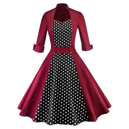 Women Polka Dot Swing 1950s Retro Housewife Pinup Vintage Rockabilly Party Dress Long Sleeve