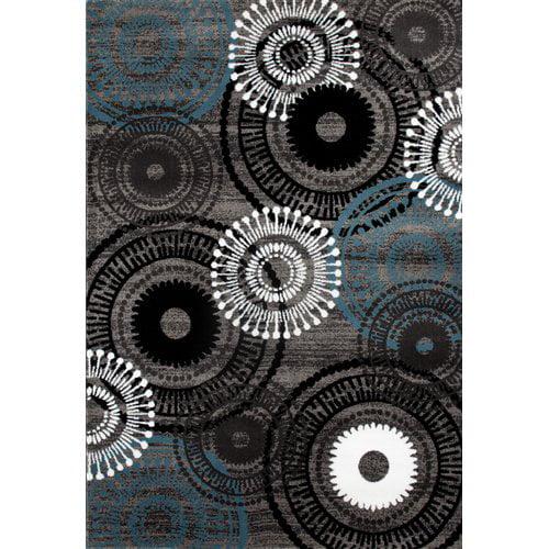 Ebern Designs Allison Gray/Blue Area Rug