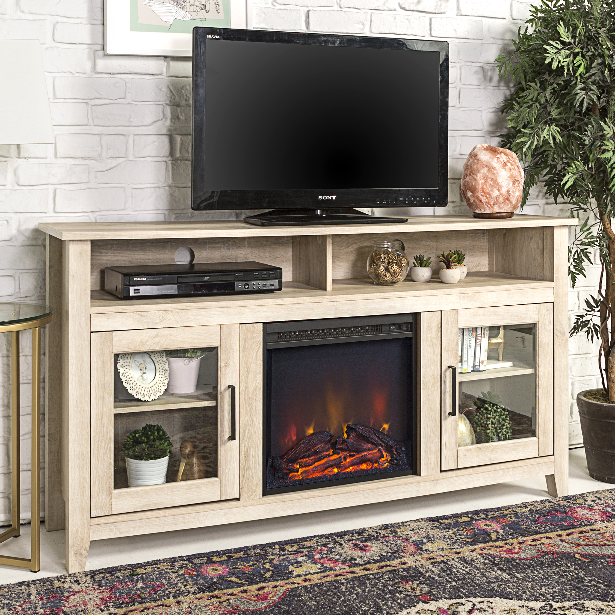 """58"""" Wood Highboy Fireplace Media TV Stand Console - White Oak (Multiple Colors"""
