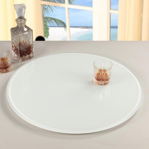 Chintaly 24 in. Glass Lazy Susan - White
