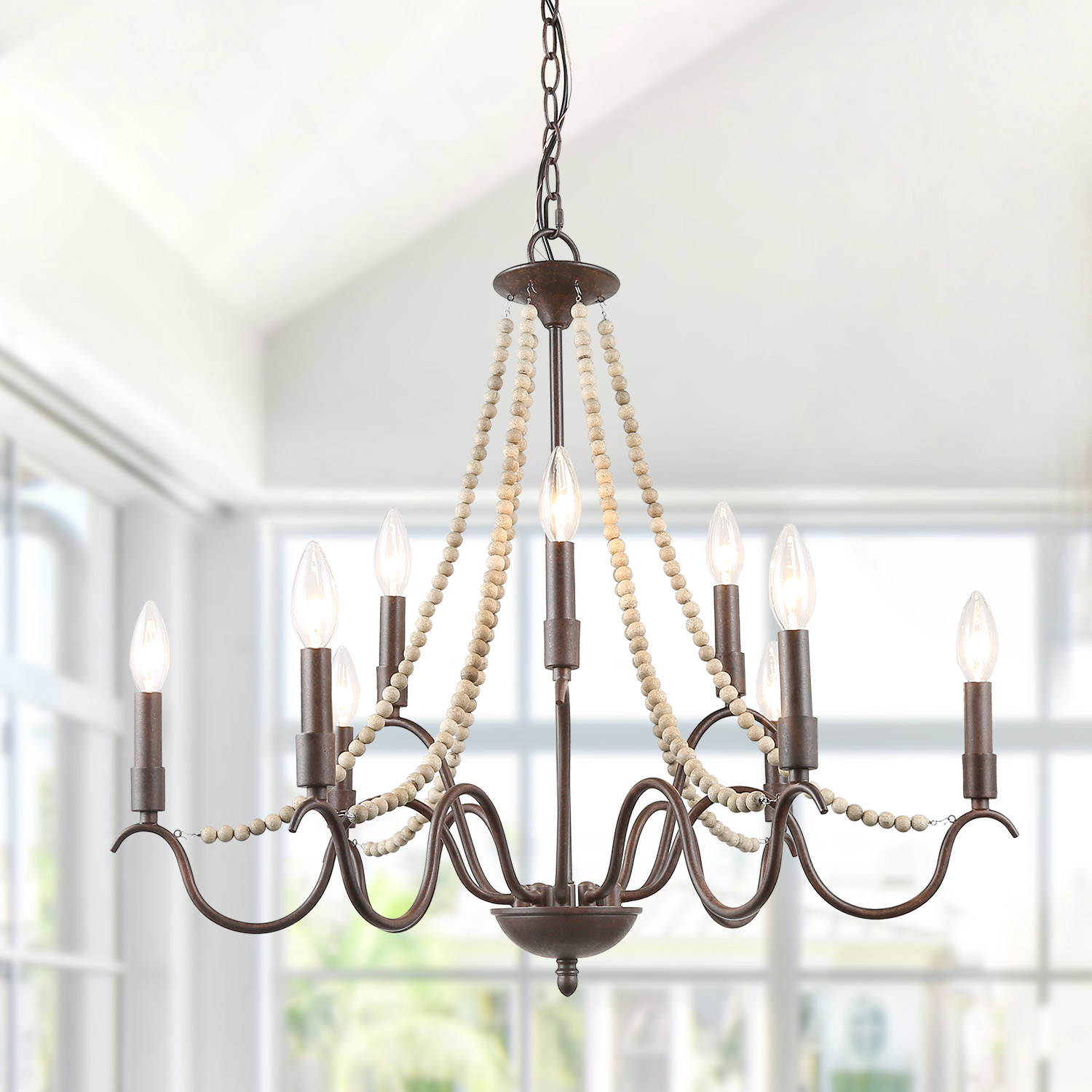 LNC French Country Chandeliers Industrial Lighting Fixtures Wood Beads  9 Light Chandeliers For Living Room/Dining Room/Bedroom