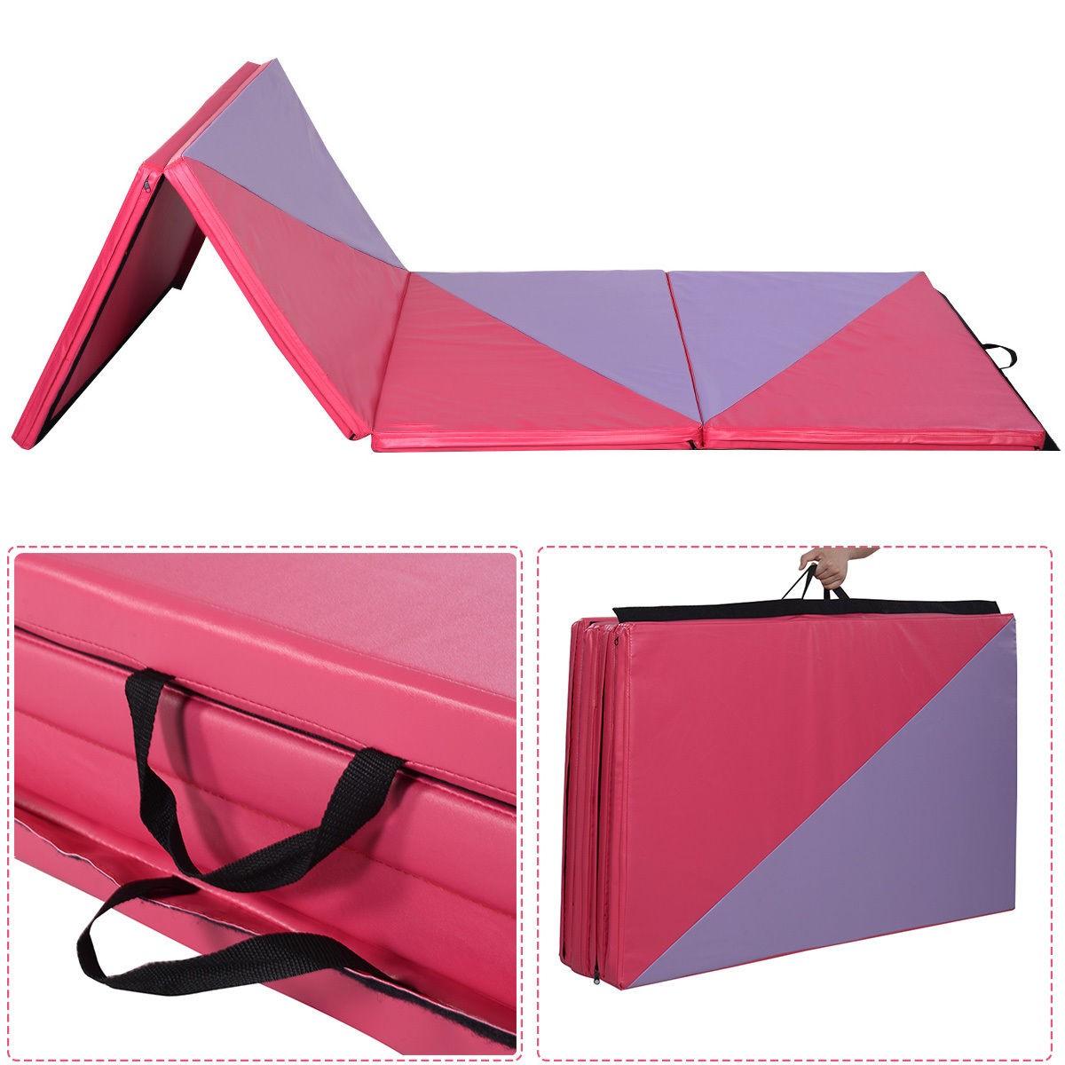 "4'x10'x2"" Thick Folding Panel Gymnastics Mat Gym Exercise Pink/Purple"